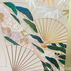 """Learning from the predecessors part V. Traditionally, we use bluish-green for pine color. This is because the Japanese color scheme is based on the atmosphere than the real color. In the Heian period (794 - 1185) people said that you should be able to """"smell"""" the color in order to express the seasons. #日本刺繍 #nuido #japaneseembroidery #broderiejaponaise #ricamogiapponese #japanischestickerei #japanesefan Japanese Colors, Heian Period, Japanese Embroidery, Color Schemes, Pine, Seasons, Learning, Green, People"""