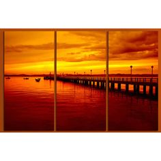 Beautiful yellow and orange skies, bridge sunset beach, 3 panel split... (105 AUD) ❤ liked on Polyvore featuring home, home decor, wall art, beach triptych wall art, yellow home decor, sea wall art, ocean home decor and ocean wall art