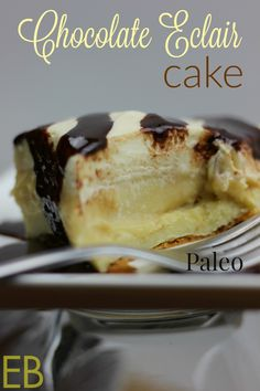 paleo chocolate eclair cake (made w/cassava flour) - could easily skip the chocolate syrup. could possibly be made w/lemon, too. Paleo Dessert, Healthy Sweets, Healthy Dessert Recipes, Whole Food Recipes, Delicious Desserts, Paleo Food, Chocolate Eclair Cake, Paleo Chocolate, Chocolate Syrup