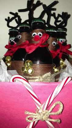 The best Secret Santa alcohol gift I've ever made. Woodchucks or Reinbeers? Alcohol Gifts, Christmas Gifts, Christmas Ornaments, Party Ideas, Gift Ideas, Love Always, Secret Santa Gifts, Crafty Craft, Xmas Ideas