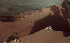 In a sort of self-portrait, opportunity take shots of his shadow and the martian landscape too