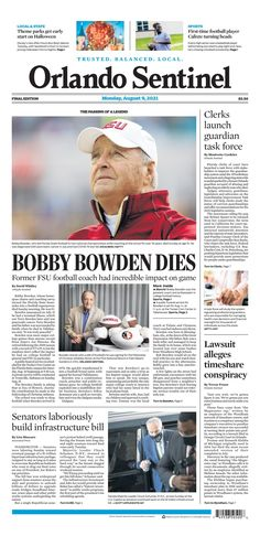 Orlando Sentinel Bobby Bowden, New York Post, Football Players, First Time, The Incredibles, Baseball Cards, Sports, Hs Sports, Sport