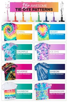 25+ Tie Dye patterns you can totally make NOW! Tie dye basics to advanced tie dye techniques ... get it all at TieDyeYourSummer.com. And find more TIE DYE inspo at #TieDyeYourSummer  #tiedye #tuliptiedye #tiedyecrafts #tiedyeshirt #summerfun #summercrafts #Crafts #DIY #refashion #fabricdye #dye Fête Tie Dye, Tulip Tie Dye, Tie Dye Party, How To Tie Dye, Tie And Dye, How To Dye Fabric, Tie Dye Knots, Diy Tie Dye Shirts, Diy Shirt