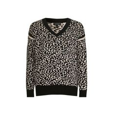 TopShop Fluffy Animal v Jumper (€80) ❤ liked on Polyvore featuring tops, sweaters, pale pink, oversized v neck sweater, v neck tops, oversized jumper, animal sweaters and brown v neck sweater