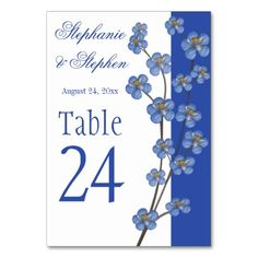Cobalt Blue Orchid Wedding Table Numbers Table Cards