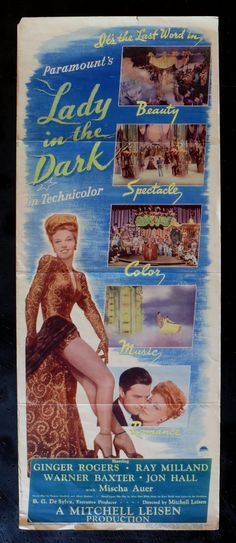 Lady in The Dark Movie Poster, Ginger Rogers
