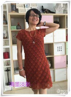 crochelinhasagulhas: Vestido vermelho com abacaxis em crochê
