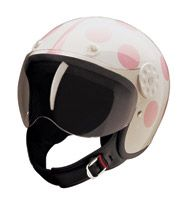 Lady Bug White and Pink Open Face Helmet Pink Motorcycle Helmet, Dirt Bike Helmets, Scooter Helmet, Dirt Bike Gear, Womens Motorcycle Helmets, Scooter Girl, Motorcycle Bike, Pink Dirt Bike, Dirt Bike Tattoo