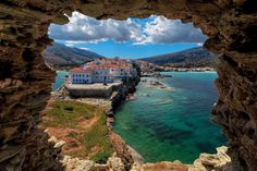 Andros is one of the beautiful islands in the Cyclades Archipelago in Greece. Its beautiful beaches, towns and ruins make it a perfect summer destinations! Mykonos, Santorini, George Town, Oranjestad, Montego Bay, Beautiful Islands, Beautiful Beaches, Trinidad, Andros Greece