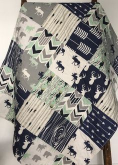 Baby Bedding Boy Baby Quilt Boy Crib Bedding Woodland by CoolSpool