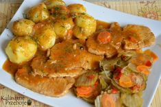Przepyszny schab duszony z dodatkiem pora, cebuli i przypraw Pressure Cooker Pork Belly, Dessert, Ratatouille, Potato Salad, Shrimp, Favorite Recipes, Meat, Chicken, Cooking