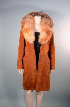 Vintage 60s/70s Suede Coat Fluffy Fur by PapillonVintageShop