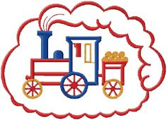 Kids train embroidery design