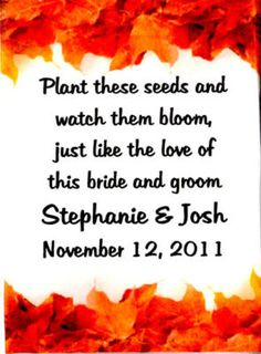 Autumn Fall  Leaves Border  Wedding Seed Packets Favors