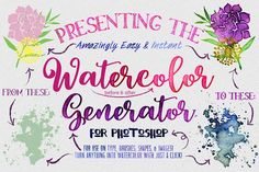 Watercolor Generator for Photoshop by Clipart Brat Graphics on @creativemarket