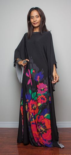 Boho Maxi Dress  Long Wide Sleeve Floral Print Tube by Nuichan, $58.00