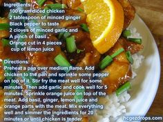 Orange Ginger Chicken Meal - this recipe is an #hcg diet friendly one. Come and try it today and have fun while doing it!