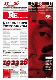 … REvolution …  Idea: revolución mental  Diseño de tapa de un diário  Trabajo publicado en el libro TYPEX (editorial idex book) de Hernan Ordoñez  http://issuu.com/hernan.tv/docs/typex_lowressomeworkseng  http://www.indexbook.com/libro.php?idLibro=1108  /proyecto editorial/