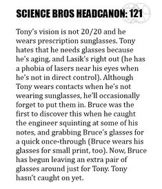 Science Bros Headcanon awww (I'm with Tony on the Lasik, though.lasers in your eye?)Science Bros Headcanon awww (I'm with Tony on the Lasik, though.lasers in your eye? Marvel Memes, Marvel Avengers, Marvel Comics, Marvel Films, Avengers Memes, Marvel Funny, Tom Holland, Bland Marvel Headcanon, Bruce Banner
