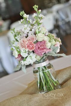 Super feminine bouquet of pink and cream roses, lisianthus and stock. Birch Blooms: June 2011