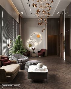 Villa in Dubai on Behance Lobby Interior, Luxury Homes Interior, Luxury Home Decor, Apartment Interior, Home Interior Design, Massage Room Decor, Beautiful Living Rooms, Living Room Inspiration, Decoration