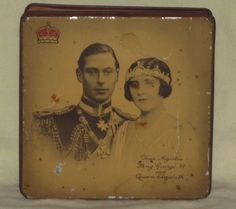 Vintage 5 oz Toffee Tin  1937 Coronation of King George and Queen Elizabeth Box  BID NOW!   FREE SHIPPING USA!  NR