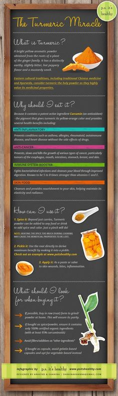 Curcumin, an antioxidant and the active ingredient in Turmeric has recently been studied for its potential health benefits and treatment of a wide variety of diseases and medical conditions.  It is also thought to aid in weight loss and healthy weight maintenance.  This infographic illustrates just a few of the health benefits associated with Turmeric, how to use it and what to look for when shopping for and buying it.