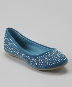 Look what I found on #zulily! Anna Shoes Blue & Silver Studded Flat by Anna Shoes #zulilyfinds
