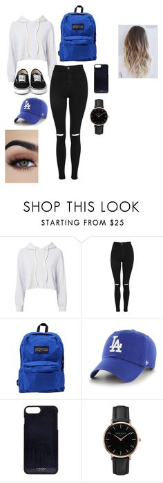 """normal day"" by mamii-karime on Polyvore featuring beauty, Monrow, Topshop, JanSport, '47 Brand and Vianel"