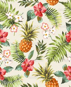 Vintage seamless tropical flowers with pineapple vector pattern background - Векторная картинка: 47816813