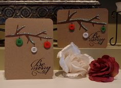 Here is a simple Christmas card. I cut out a branch from the Cricut cartridge, Give a Hoot. I drew on ornament hooks, and glued buttons on t...