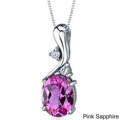 Oravo Sterling Silver Oval Gemstone Pendant Necklace (Pink Sapphire), Women's, Size: 18 Inch