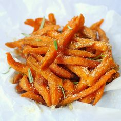 yellowfingers: Baked Sweet Potato Truffle Fries (with Rosemary)