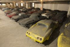 Can you imagine stumbling across this collection of corvettes?!!