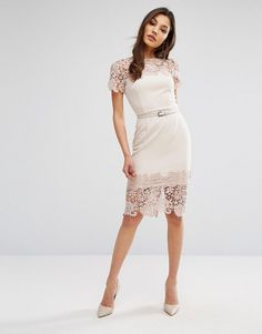 Image result for paper dolls cap sleeve midi dress with lace detail