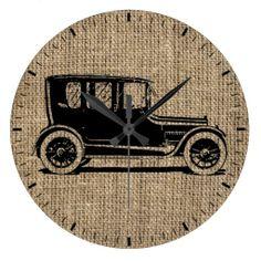 Vintage Car Burlap Wall Clock #clocks #vintage #car