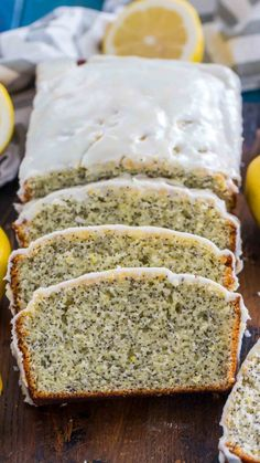 Quick and easy Lemon Poppy Seed Bread is packed with citrusy freshness from using lots of lemon zest and juice, with crunchy poppy seeds and lemon glaze. Köstliche Desserts, Lemon Desserts, Lemon Recipes, Delicious Desserts, Dessert Recipes, Poppy Seed Recipes, Strawberry Bread Recipes, Lemon Poppy Seed Loaf, Poppy Seed Bread
