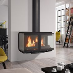 Fireplace Products a premium UK outlet of stoves, fires, fireplaces and chimney liners. Offering more wood burning stoves than anyone else with. Hanging Fireplace, Fireplace Hearth, Home Fireplace, Fireplace Design, Into The Woods, Shop Heater, Wood Pellet Stoves, Log Burner, Prefab Homes