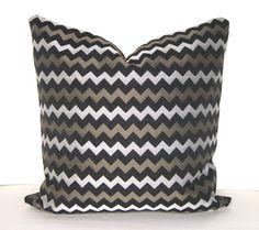 chevron pillow- gray, black, olive.