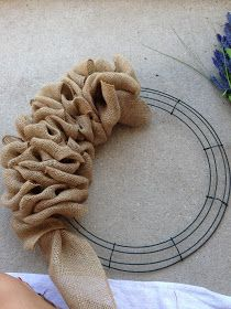 Little Lovely Leaders: Burlap Wreath!! Nice step by step directions. I have some while ribbon and purple ornaments I have been wanting to use in a wreath! Perfect!