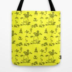 Toile Yellow Unicorn Tote Bag