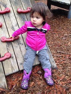 Puma track jacket & Bogs rain boots.