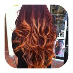 Red hair and blonde tips. Ombre. I LOVE THIS BUT A. DON'T HAVE THE BALLS B. IT'S NOT DISNEY LOOK :(