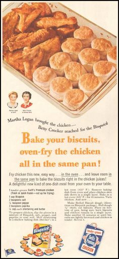 Betty Crocker Chicken and Bisquits cooked in same pan from July 1953 Retro Recipes, Old Recipes, Vintage Recipes, Cooking Recipes, Family Recipes, Recipies, Chicken And Biscuits, Baked Chicken, Bisquick Recipes