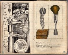 John Vernon Lord: Chameleon, screw and screwdriver. A notebook drawing of Notebook Drawing, Drawing Journal, Sketch Inspiration, Art Journal Inspiration, Journal Ideas, John Vernon, Art Diary, Sketchbook Pages, Visual Diary