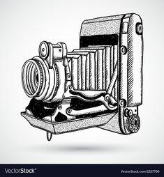Vintage doodle camera hand-drawn vector image on VectorStock Camera Sketches, Camera Drawing, Camera Art, Camera Doodle, Traditional Tattoo Old School, Traditional Tattoo Flash, Neo Traditional, American Traditional, Vintage Cameras