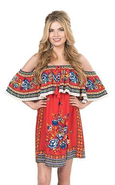 fa89a0684ad5 Flying Tomato Women s Red FLoral Print Cold Shoulder Dress