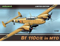 The Eduard Messerschmitt Bf 110C/E in MTO Model Kit in 1/48 scale from the plastic aircraft model range accurately recreates the real life German heavy-fighter aircraft flown during World War II. This plastic aircraft kit requires paint and glue to complete.