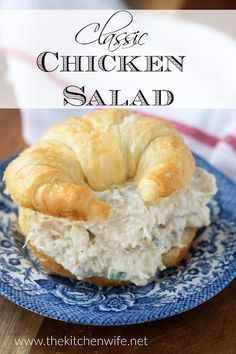 A classic chicken salad recipe uses a few simple ingredients to create a cold, c. A classic chicken salad recipe uses a few simple ingredients to create a cold, creamy salad filling for the perfect homemade chicken salad. Homemade Chicken Salads, Chicken Salad Recipes, Healthy Salad Recipes, Salad Chicken, Recipe Chicken, Chicken Salad On Croissant, Chicken Salad Recipe With Relish, Simple Chicken Salad, Chicken Salad Sandwiches