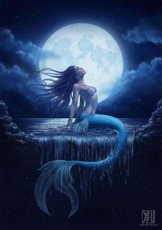 Moon: Mermay Day 13 colored by YasuMatsuoka on DeviantArt Anime Mermaid, Mermaid Fairy, Mermaid Tale, Fantasy Art Women, Beautiful Fantasy Art, Dark Fantasy Art, Mythical Creatures Art, Magical Creatures, Fantasy Creatures